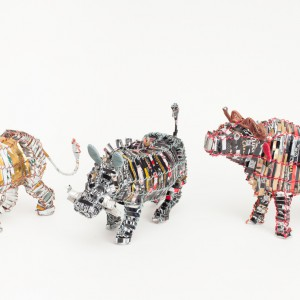 Recycled can lion warthog buffalo