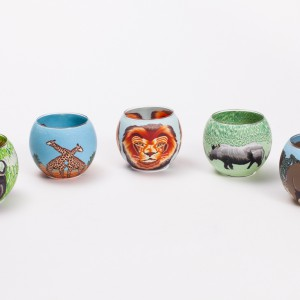printed tea light lrg animal design