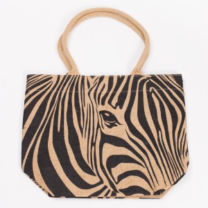 hessian zebra bag