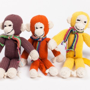 handknitted monkey bright colour