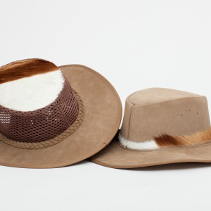 suede safari hat springbok top and side trim