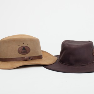 suede with leather trim & oilskin safari hat