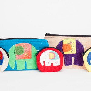 Fabric coin purse & cosmetic-travel purse