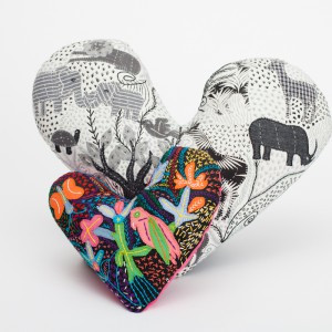 hand embroidered heart cushions sml -lrg