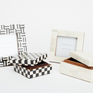 bone and horn checkered fot frame -jewllery box